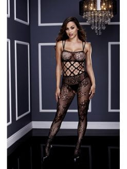 Baci 3123 Racerback Double Strap Crotchless Lace Bodystocking - OS-0