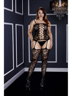 Baci 3124 Corset Front Suspender Lace Bodystocking -Queen-0