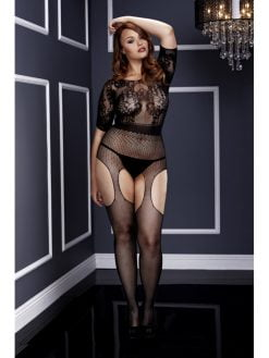 Baci 3133 Short Sleeve Crotchless Suspender Bodystocking - Queen-0