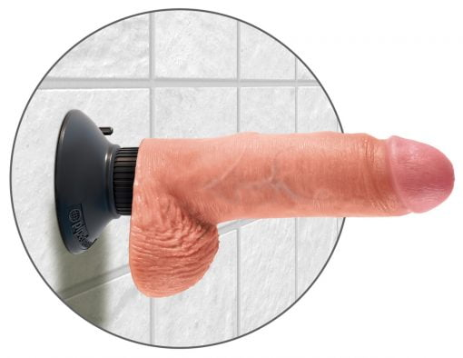 King Cock 7 Inch Vibrating Cock with Balls-7815