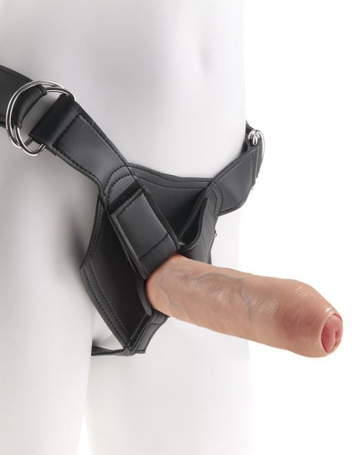 King Cock 7 Inch Uncut Cock w Strap-On Harness-Flesh-7381