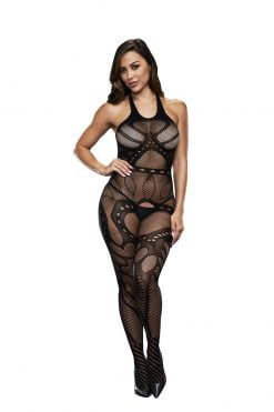 Baci 5007 Crotchless Jaquard Bodystocking - One Size-0