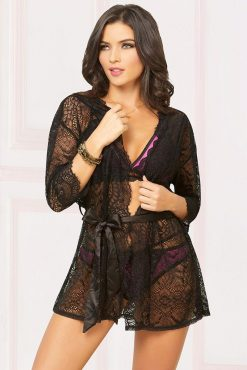 Seven Til Midnight 10894 Lace Robe -0