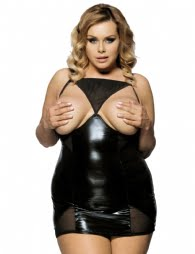 Oh Yeah Faux Latex Cupless Chemise -Black-10760